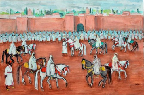 Hassan El Glaoui 1924-2018 MOROCCAN LA SORTIE DU ROI signed (lower right) gouache on canvas 120 by 180cm., 47¼ by 70¾in. Sothebys