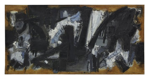 JOHN LEVEE 1924-2017 OCTOBER 2, 1955 signed and dated 55; signed and titled on the reverse oil on canvas Canvas: 27½ by 55 in. (69.8 by 139.7 cm.)