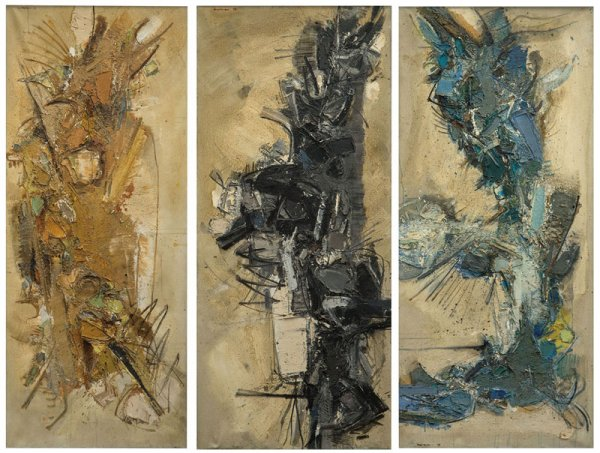 John Harrison LEVEE (1924-2017) November I, II, III 1958 Oil on canvas triptych