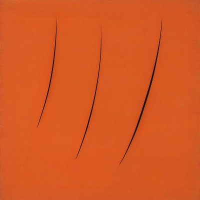 Lucio Fontana (1899–1968) Spatial Concept, Expectations (Concetto Spaziale, Attese), 1959 Oil on canvas with slashes 90.8 × 90.8 cm Olnick Spanu Collection, New York © Fondazione Lucio Fontana, Bilbao, 2019