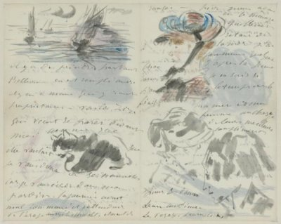 Letter to Henri Charles Guérard, Decorated with a Peach, Two Shrimps,  a Seascape, a Cat, Four Portraits, and a Swallow, late August or  September 1880, Édouard Manet (French, 1832 - 1883).  Watercolor, wash, pen and ink. Unframed (closed): 20.2 × 12.7 cm  (7 15/16 × 5 in.) Unframed (open): 20.2 × 25.4 cm (7 15/16 × 10  in.) Framed: 35.6 × 45.7 cm (14 × 18 in.) Fondation Custodia,  Collection Frits Lugt, Paris. Accession No. EX.2019.3.21