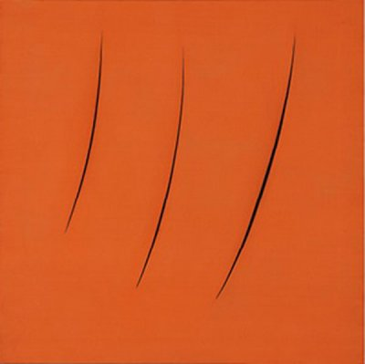 Lucio Fontana (Italian, 1899-1968). Spatial Concept, Expectations, 1959. Oil on canvas. Olnick Spanu Collection © 2018 Fondazione Lucio Fontana/Artists Rights Society (ARS), New York/SIAE, Rome