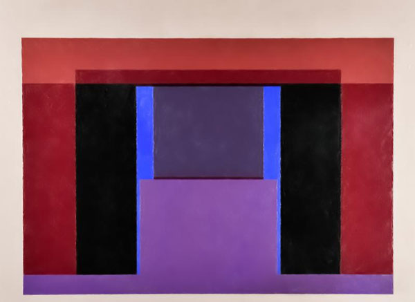 Sewell Sillman, The Palace (Version 2), 1961, oil on masonite 33 ¾ H. x 45 W. inches, detail