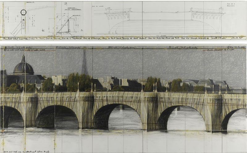 The Pont-Neuf Wrapped (Project for Paris), 1985 Pencil, pastel, charcoal, wax crayon, ink prints  and glue on paper mounted on cardboard in a  Plexiglas vitrine frame Diptych: 38 × 244 cm and 106.6 × 244 cm Collection of the artist © Christo 1985 Photo © Philippe Migeat