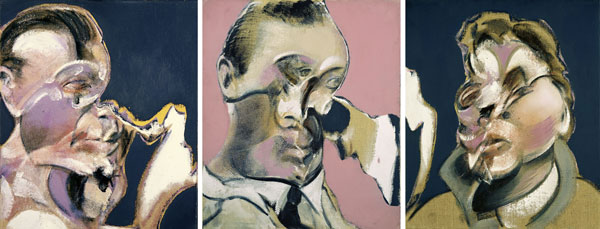 Francis Bacon, Three Studies for Portraits (including Self-Portrait),1969 Huile sur toile, Tryptichon 35.5 x 30.5 cm Collection privée © The Estate of Francis Bacon. All rights reserved / 2018, ProLitteris, Zurich