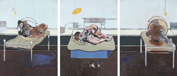 Francis Bacon, Three Studies of Figures on Beds, 1972 Huile et plâtre sur toile, Triptychon chacun 198 x 147.5 cm Esther Grether Collection privée © The Estate of Francis Bacon. All rights reserved / 2018, ProLitteris, Zurich Photo: Robert Bayer