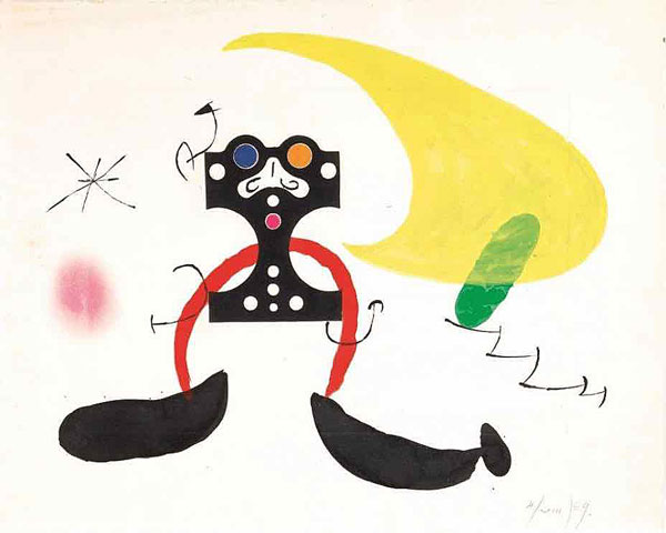 Cosmonaute – maquette, 1969. Encre de Chine,  Gouache et Pastel sec sur eau-forte originale. © Successió Miró, Adagp Paris 2019. Photo Claude Germain /  Archives Fondation Maeght.