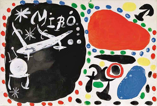 Affiche « Tokyo – Kyoto » – maquette. Gouache et Encre de Chine sur carton. © Successió Miró, Adagp Paris 2019. Photo Claude Germain / Archives Fondation Maeght.