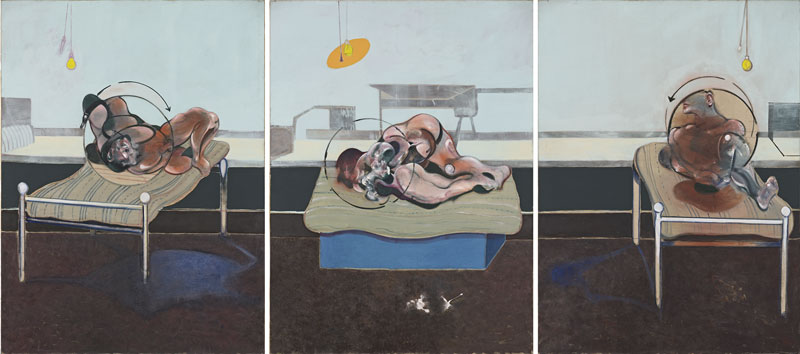 Biographie de Francis Bacon - Francis Bacon Trois études de personnages couchés sur un lit (Three Studies of Figures on Beds), 1972 Huile et pastel sur toile Trois panneaux, 198 x 147,5 cm chacun Esther Grether Family Collection © The Estate of Francis Bacon. Tous droits réservés. DACS/VEGAP. Bilbao, 2016 Photo :  Bildpunkt AG, Münchenstein