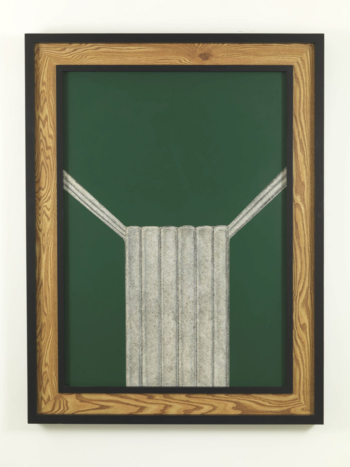 Richard Artschwager Weave (Green), 1991  Acrylic and Celotex on panel 171,2 x 131 x 9 cm  Courtesy Galleria Alfonso Artiaco, Napoli Photo: Luciano Romano  © Estate of Richard Artschwager, VEGAP, Bilbao, 2020