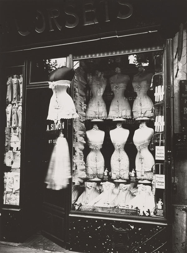 Eugène Atget, Boulevard de Strasbourg, Corsets, 1912, printed later. Gelatin silver print, 9 1/4 × 6 7/8 in. (23.5 × 17.5 cm). The Menil Collection, Houston