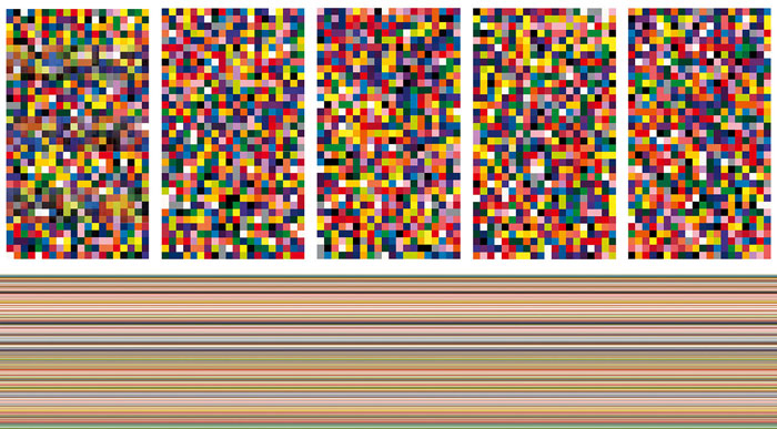 Up: Gerhard Richter, 4,900 Colors, 2007. Enamel paint on aluminum, 140 panels (each panel: 48.5 x 48.5 cm),  5 plates (each: 7 x 4 panels): 339.5 x 194 cm. Private Collection, © Gerhard Richter,  Courtesy the artist and the Metropolitan Museum of Art Down: Gerhard Richter, Strip, 2013. Inkjet print on fine art paper between acrylic and aluminum, 200 x 1000 cm,  Private Collection, © Gerhard Richter, Courtesy the artist and the Metropolitan Museum of Art