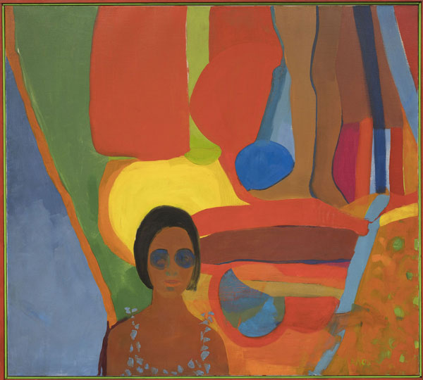 Emma Amos  Baby, 1966  Oil on canvas  46 1/2 × 51 in. (118.1 × 129.5 cm)  Purchased jointly by the Whitney Museum of American Art,  with funds from the Painting and Sculpture Committee; and  The Studio Museum in Harlem, museum purchase with  funds provided by Ann Tenenbaum and Thomas H. Lee  2019.1a-b
